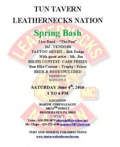 SPRING BASH - June 3rd: Tun Tavern Leathernecks Nation @ Marine Corps League | Brookhaven | Pennsylvania | United States